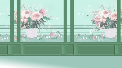清新植物櫥窗廣告背景 廣告背景 櫥窗 簡約背景圖庫