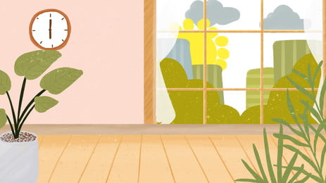 fresh room home advertising background, Advertising Background, Alarm Clock, Potted Plant Background image