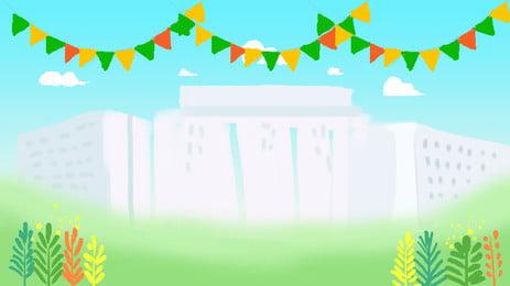 sekolah musim yang membosankan membina bahan latar belakang, Bangunan Mengajar, Bunting, Tanah Rumput imej latar belakang