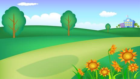 Mới bắt đầu học trường cỏ minh họa nền Khai mạc mùa Hoa Đồng Học Biểu Tươi Hình Nền