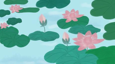 Tươi sen mùa hè vật liệu nền poster Hoa Sen Ao Hình Nền