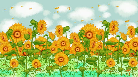 清新陽光向日葵廣告背景, 藍天, 雲朵, 向日葵 背景圖片