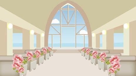 mùa cưới tươi thiết kế nền nhà thờ, Nền Tươi, Lãng Mạn, Nền Mùa Cưới Ảnh nền