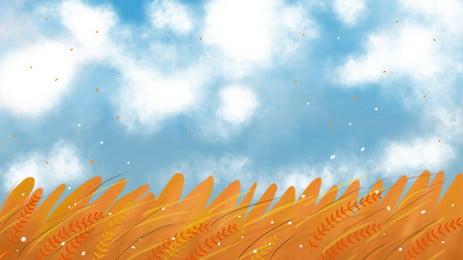fresh wheat field advertising background, Advertising Background, Blue Sky, Cloud Background image