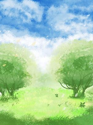 Toàn bộ giấc mơ vẽ tay minh họa bầu trời xanh mây trắng nền rừng Bầu Trời Xanh Hình Nền