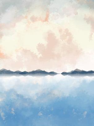 夢のような手描きイラスト海辺の空ピンク雲ポスター , 海辺, 空, クラウド 背景画像