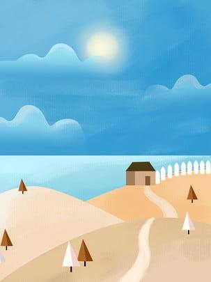 Toàn bộ gouache gió vẽ tay phong cảnh Gouache Màu Nước Hình Nền