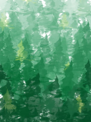 full green gradient watercolor gouache forest background , Hand Painted, Forest, Gradient Background image
