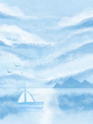 Toàn tay vẽ bầu trời xanh mây trắng nền biển Bầu Trời Xanh Hình Nền