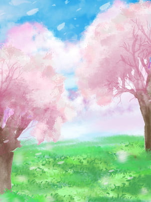 full hand drawn blue sky white clouds pink cherry tree meadow poster background , Pink, Blue Sky And White Clouds, Cherry Tree Background image