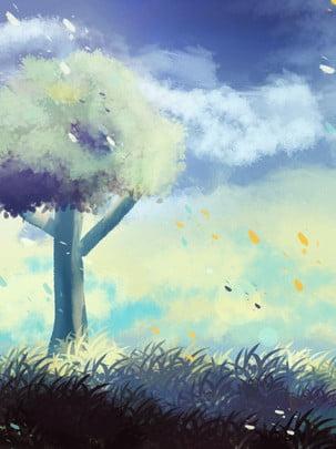 フル手描きの夢のような風景青い空木草原ポスターの背景 グラスランド 木々 ウッズ 背景画像