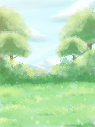full hand drawn green woods cartoon background , Trees, Forest, Grassland Background image