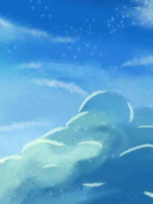 Toàn tay vẽ bầu không khí lãng mạn trời xanh mây Vẽ Tay Đám Hình Nền