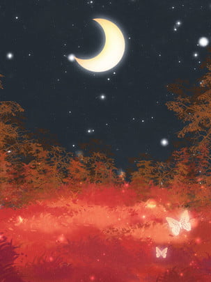 Full hand painted red maple leaf night forest background , Red, Leaves, Moon Background image