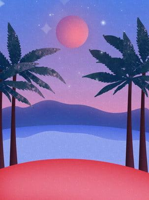 フルサンセット手描きビーチサイドココナッツグローブの背景 , ココナッツの木, ファーマウンテン, ビーチ 背景画像