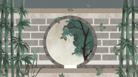 garden green bamboo round door hole brick wall background, Patio, Green, Bamboo Background image