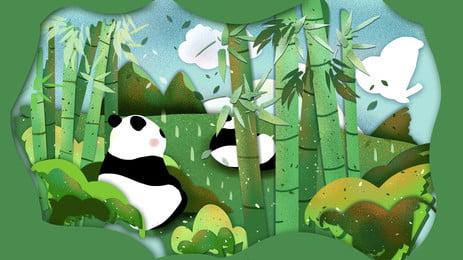 हरे बांस के जंगल में विशालकाय पांडा कार्टून पृष्ठभूमि, ग्रीन, बाँस का जंगल, खेलना पृष्ठभूमि छवि