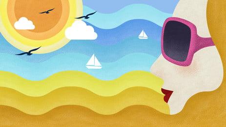 Girls Side Face Seaside Scenery Decorative Painting, Sea, Beach, Girl, Background image