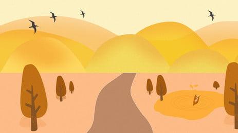 golden autumn highway far mountain thiết kế nền, Phim Hoạt Hình, Dễ Thương, Mùa Thu Ảnh nền