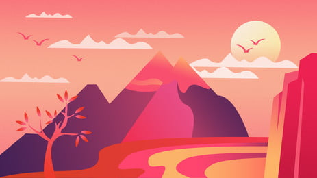 Gradient distant mountain trees sunset background, Cloud, Sunset, Tree Background image