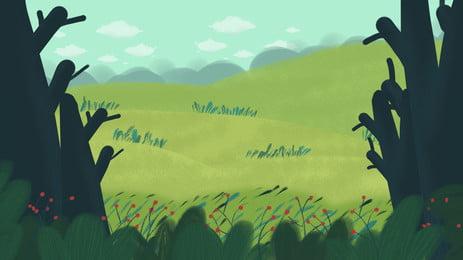 잔디 트리 작은 꽃 만화 배경, 초원, 나무들, 작은 꽃 배경 이미지