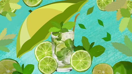 Great Summer Cool Green Lemon Drink Background Material Summer,big Summer Background,summer, Drink, Summer, Drink, Background image