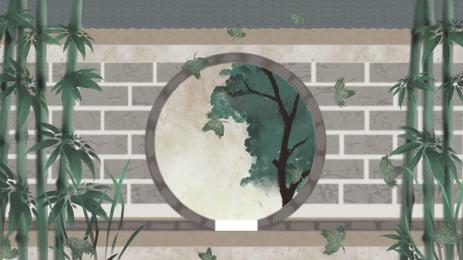 Bức tường gạch tre xanh xám tròn cửa lỗ phim hoạt hình Màu xanh Tre Xám Tường gạch Vòng Lỗ Bức Tường Gạch Hình Nền