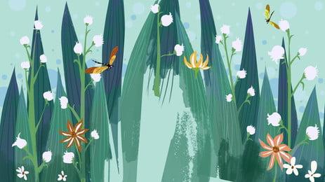 Зеленые красивые свежие листья маленький цветок универсальный фон Свежий фон Эстетический Фоновое изображение