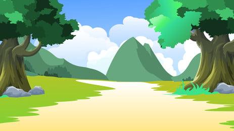 グリーンヒルズツリーパス草の漫画の背景 キャッスルピーク 緑の木 小さな道 背景画像