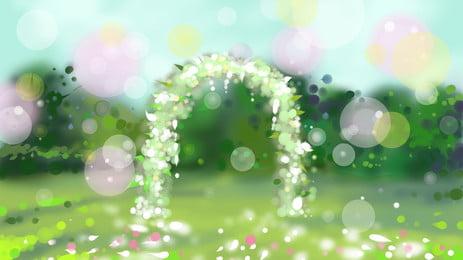 हरी पत्ती फूल पुष्पांजलि दरवाजा शादी सेट पृष्ठभूमि, हरी पत्ती, फूल, माला पृष्ठभूमि छवि