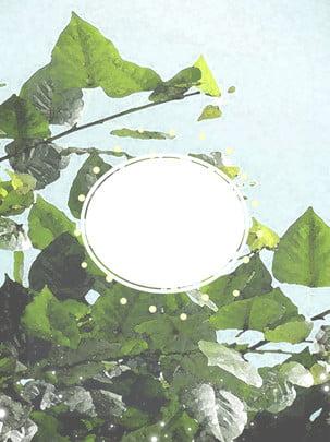 綠葉文藝復古唯美簡約背景 , 綠葉, 文藝, 復古 背景圖片