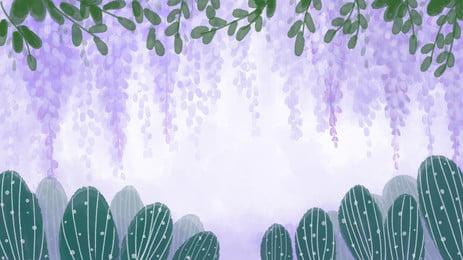 緑の葉と紫の花藤アニメの背景 アニメ 葉の葉 紫 背景画像