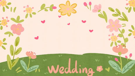 Green Meadow Colored Flowers Wedding Background, Green Meadow Colored Flowers Wedding Background, Background image
