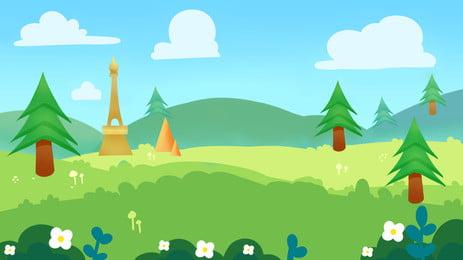 緑の芝生と木々と山々と青い空の漫画背景 アニメ 山並み 木 背景画像