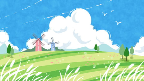 green meadow windmill blue sky white clouds cartoon background, Green, Grassland, Windmill Background image