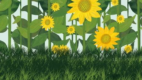 綠色彩繪向日葵海報背景素材, 花朵, 手繪向日葵, 向日葵背景 背景圖片