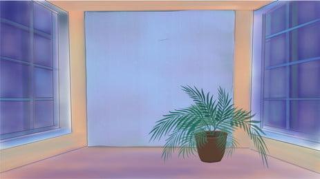 藍色玻璃房間內裡的綠色植物卡通背景 藍色 玻璃 房間背景圖庫