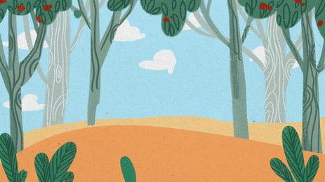 綠色樹林藍天白雲卡通背景 綠色 樹林 藍天背景圖庫