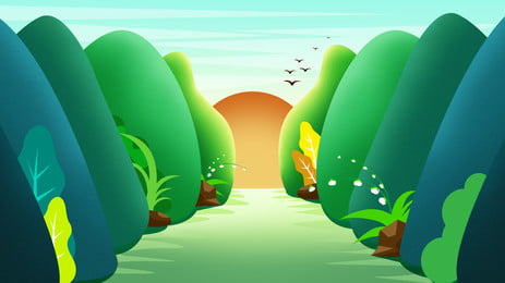 green woods road sun flying birds cartoon background, Green, Forest, The Way Background image