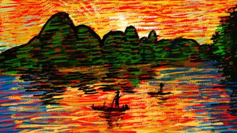 Tranh sơn dầu phong cảnh Quế Lâm màu vẽ tay Quế Lâm Phong cảnh Tranh Tranh Sơn Dầu Hình Nền