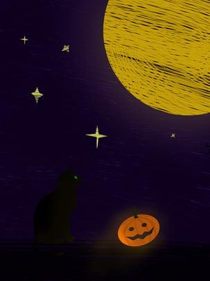 ハロウィーン猫ムーンパンプキン星夜の背景 , ハロウィン, ねこ, 月 背景画像
