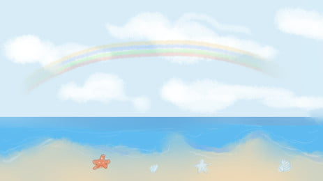 Hand Drawn Beach Advertising Background, Advertising Background, Beach, Painted, Background image