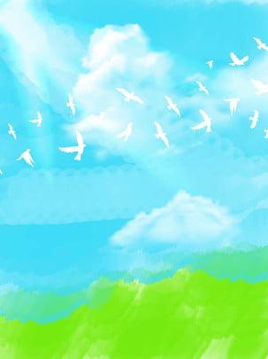 Bầu trời xanh  chim bồ câu cảnh mới mẻ bằng tay nhỏ Bạch Vân Tươi Tỉnh Nhỏ Hình Nền