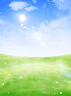 hand drawn blue sky white clouds meadow landscape cartoon background , Hand Painted Background, Grass Background, Blue Sky And White Clouds Background Background image