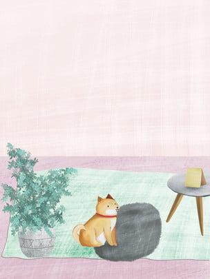 fundo de gato botânico mão desenhada , Material De Mão Desenhada, Cat, Planta Em Vaso Imagem de fundo