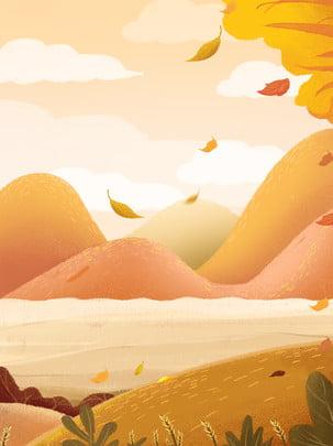 Vẽ tay hoạt hình mùa thu lá mát mẻ nền quảng cáo Vẽ Tay Mùa Hình Nền