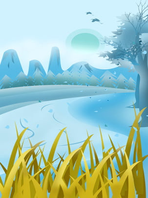 Vẽ tay phim hoạt hình màu xanh phong cảnh mùa thu phong cảnh quảng cáo Vẽ tay Phim hoạt Hoạt Cảnh Phong Hình Nền