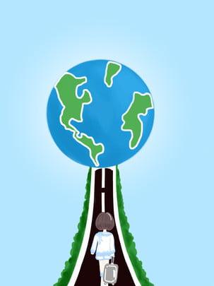 Vẽ tay hoạt hình cô gái thế giới ngày du lịch vật liệu nền Vẽ Tay Phim Hình Nền