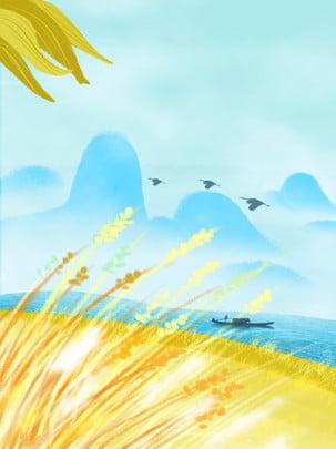 हाथ खींचा कार्टून गोल्डन चावल क्षेत्र विज्ञापन पृष्ठभूमि , हाथ खींचा हुआ, कार्टून, स्वर्ण चावल क्षेत्र पृष्ठभूमि छवि
