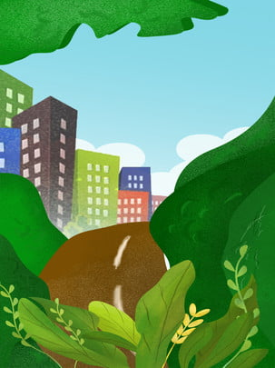 hand drawn cartoon green trees shaded by city high rise buildings advertising background , Hand Painted, Cartoon, Green Tree Background image